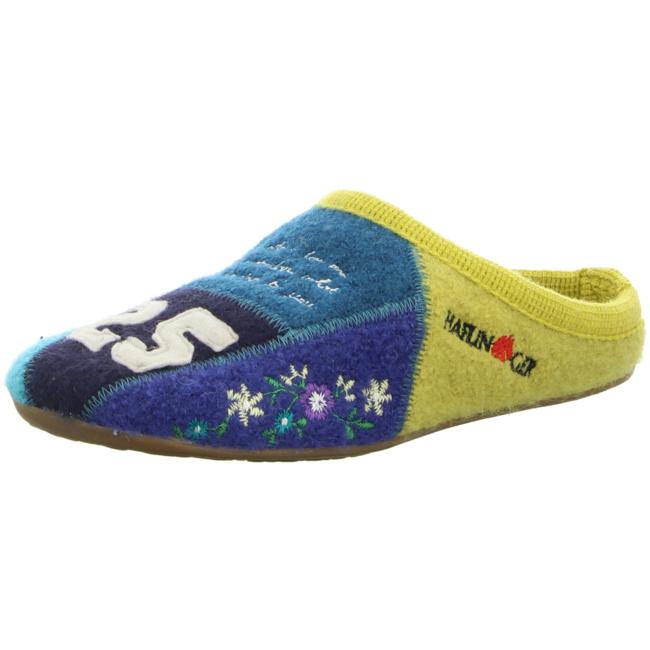 Haflinger Damen NV Pantolette Sandalen Hausschuhe blau